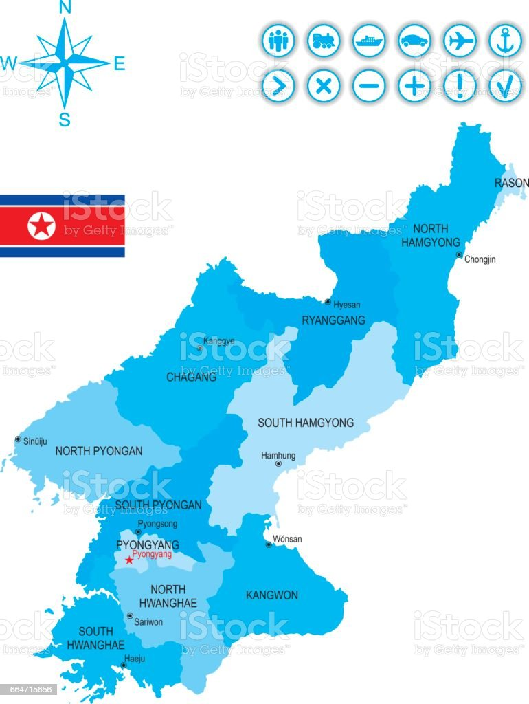 Map Of North Korea With Flag Icons And Key Stock Vector Art More
