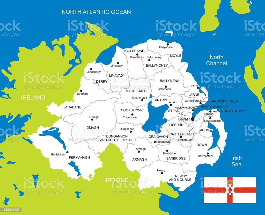 Map of Northern Ireland vector art illustration