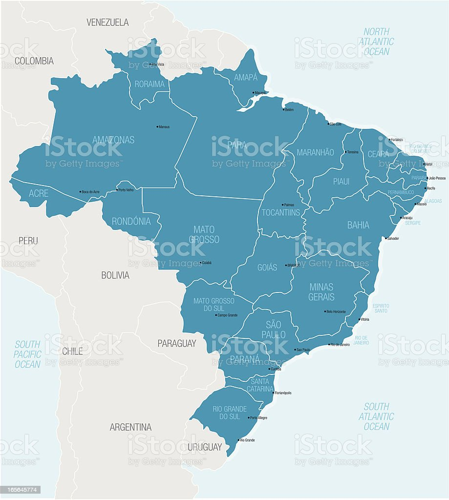 Map of northern South America highlighting Brazil royalty-free stock vector art