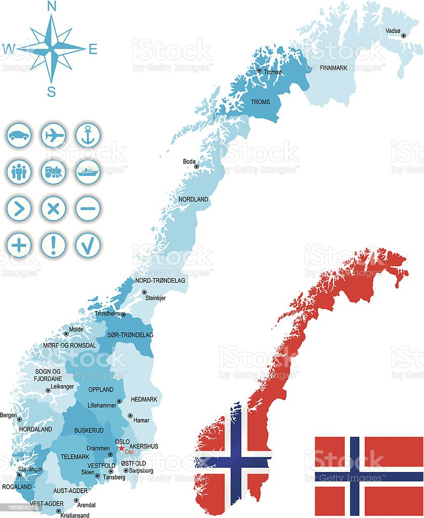 Map Of Norway Along With National Flag Stock Vector Art - Norway map hamar
