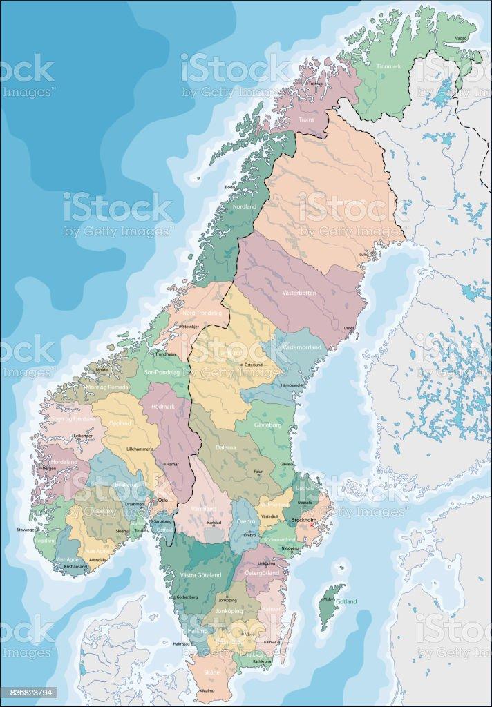 Karte Norwegen Schweden.Karte Von Norwegen Und Schweden Stock Vektor Art Und Mehr