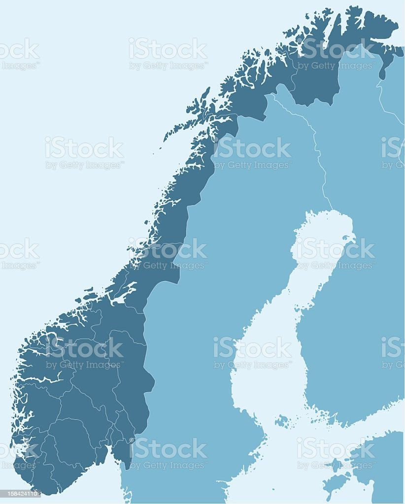 Map Of Norway In Dark Blue Over White Background Stock Vector Art - Norway map vector countries