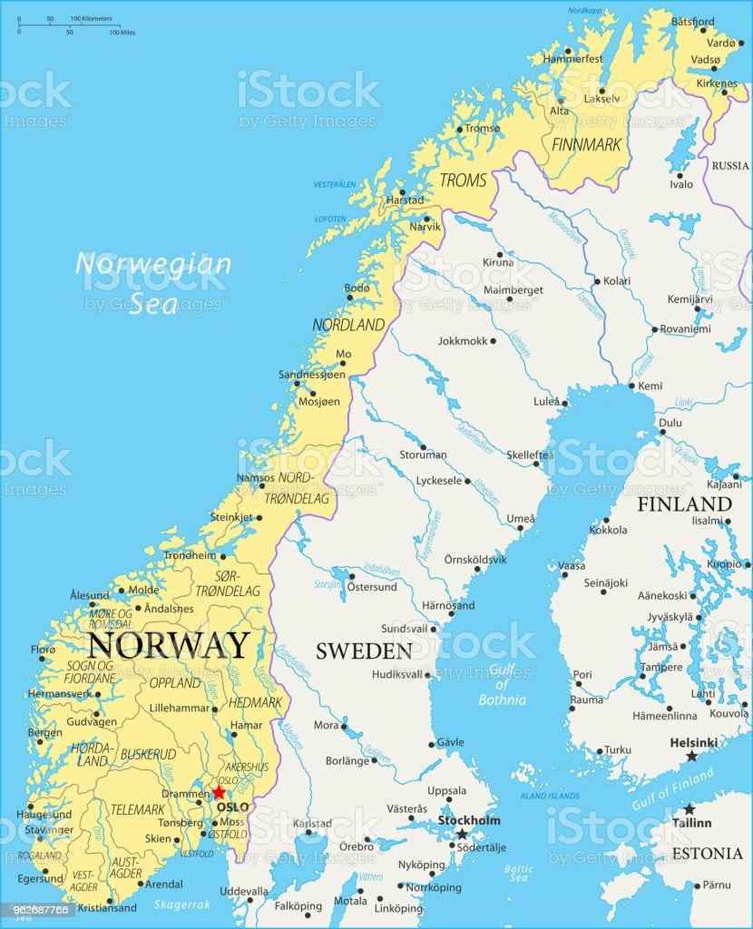 Karte Norwegen.Karte Von Norwegen Vektor Stock Vektor Art Und Mehr Bilder