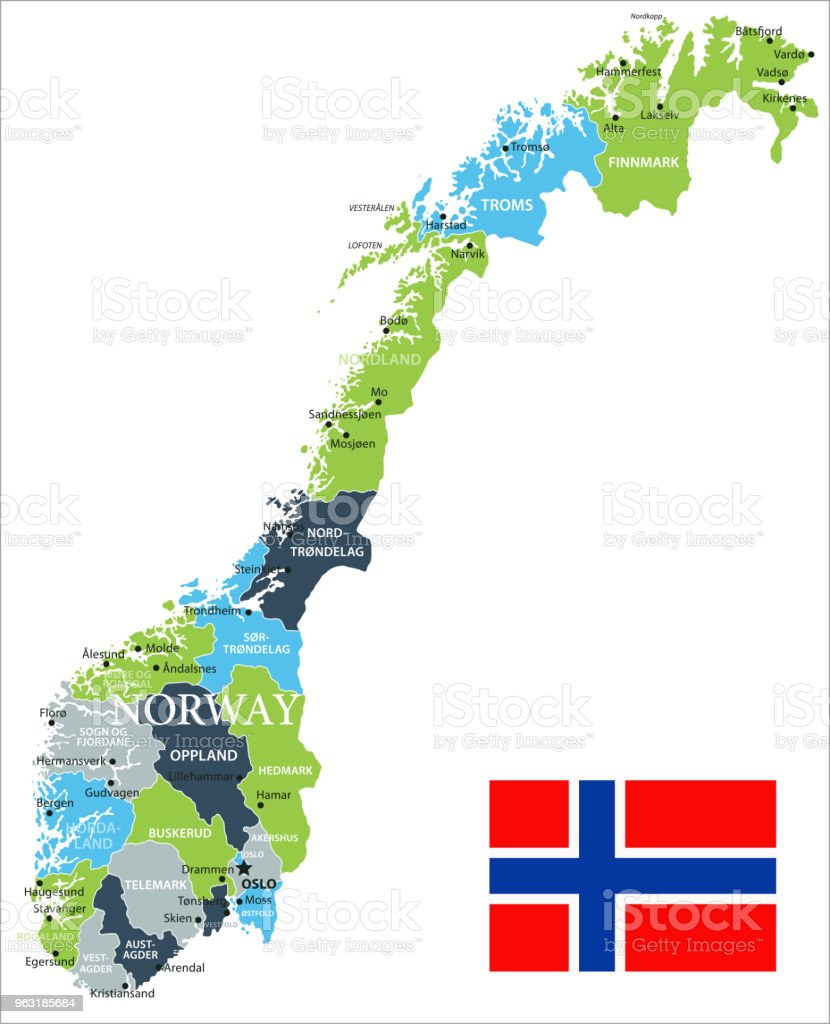 Map Of Norway Vector Stock Vector Art More Images Of Bergen