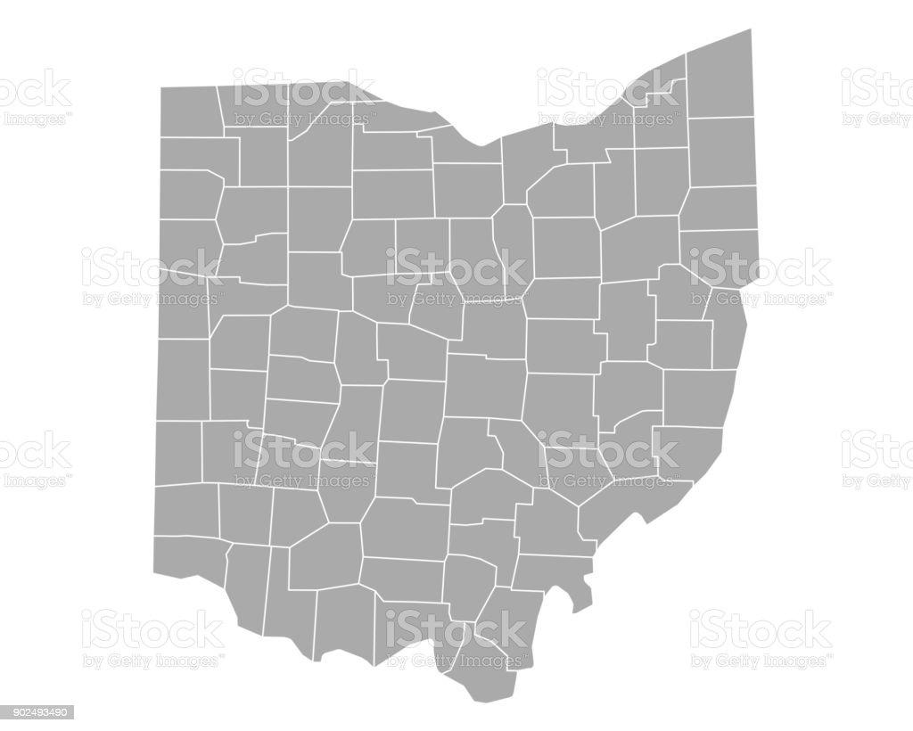 Map of Ohio vector art illustration