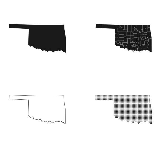 map of Oklahoma – artystyczna grafika wektorowa