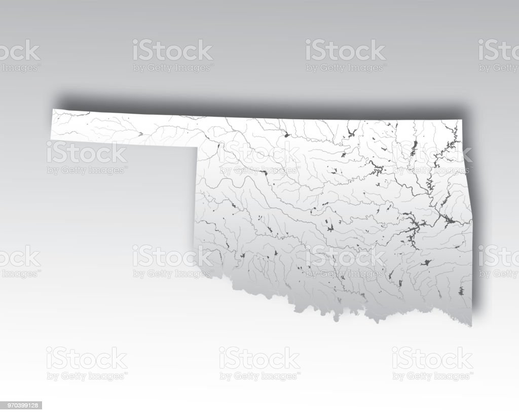 Map Of Oklahoma With Lakes And Rivers Stock Illustration ...