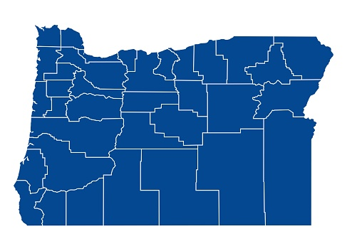 Map of Oregon state with counties