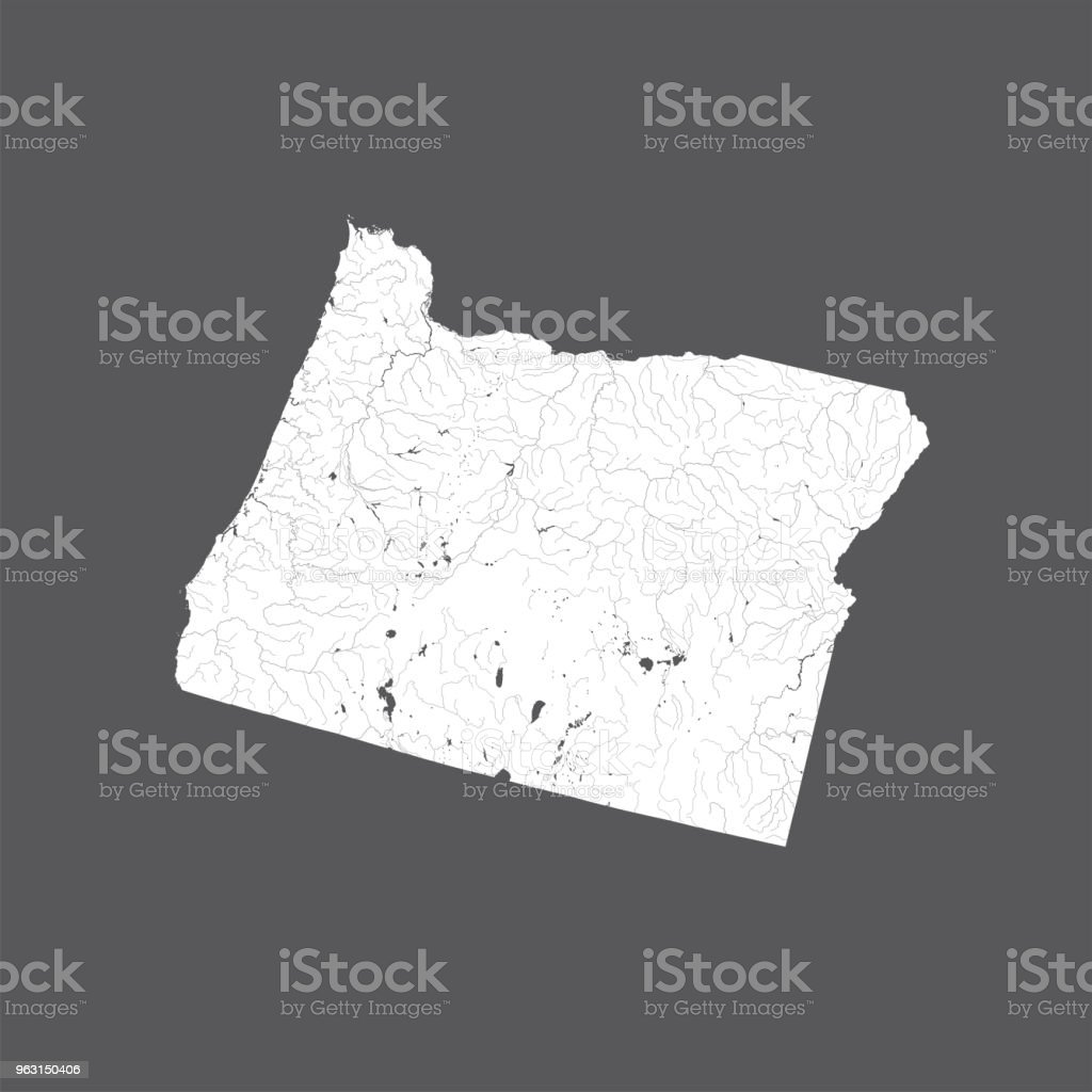 Map Of Oregon State With Lakes And Rivers Stock Vector Art More