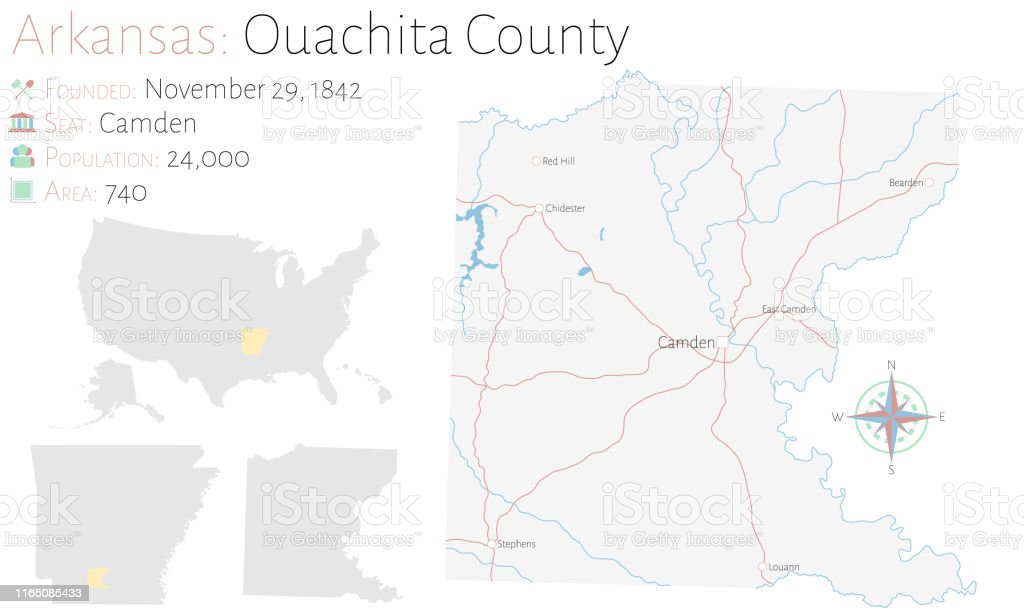 Map Of Ouachita County In Arkansas Stock Illustration ...