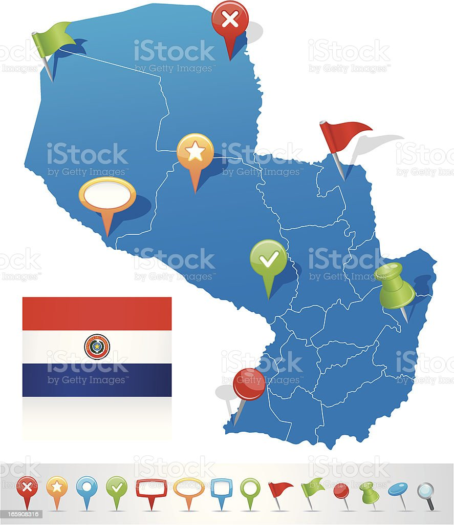 Map of Paraguay with navigation icons royalty-free map of paraguay with navigation icons stock vector art & more images of arrow symbol