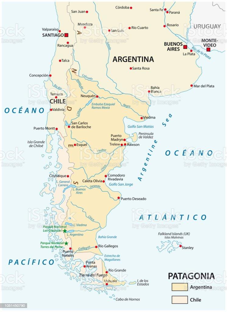 Chile Patagonien Karte.Karte Von Patagonien Sudlichen Teil Von Sudamerika Chile Und