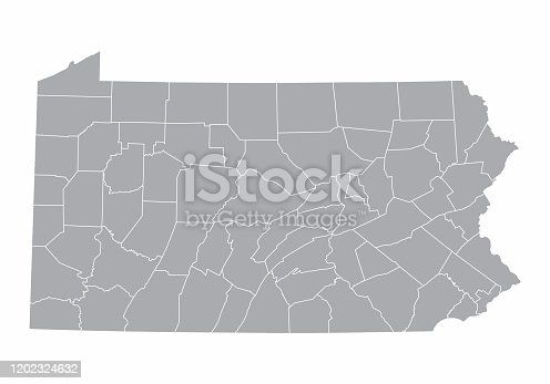 A gray Map of Pennsylvania and its counties