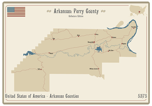 Map of Perry County in Arkansas