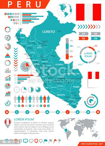 istock Map of Peru - Infographic Vector 990957518