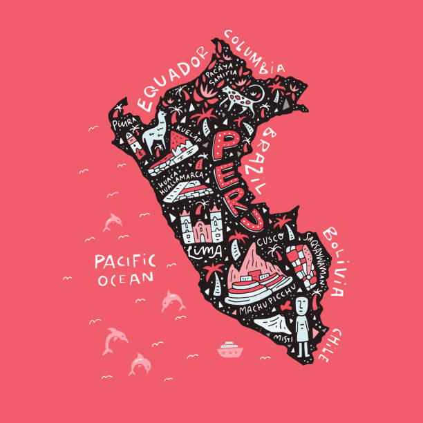 bildbanksillustrationer, clip art samt tecknat material och ikoner med karta över peru - peru