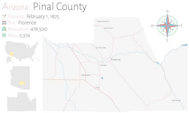stockillustraties, clipart, cartoons en iconen met kaart van de provincie van pinael in arizona - arizona highway signs