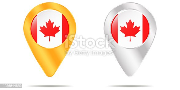 istock Map of pins with flag of Canada. On a white background 1256844659