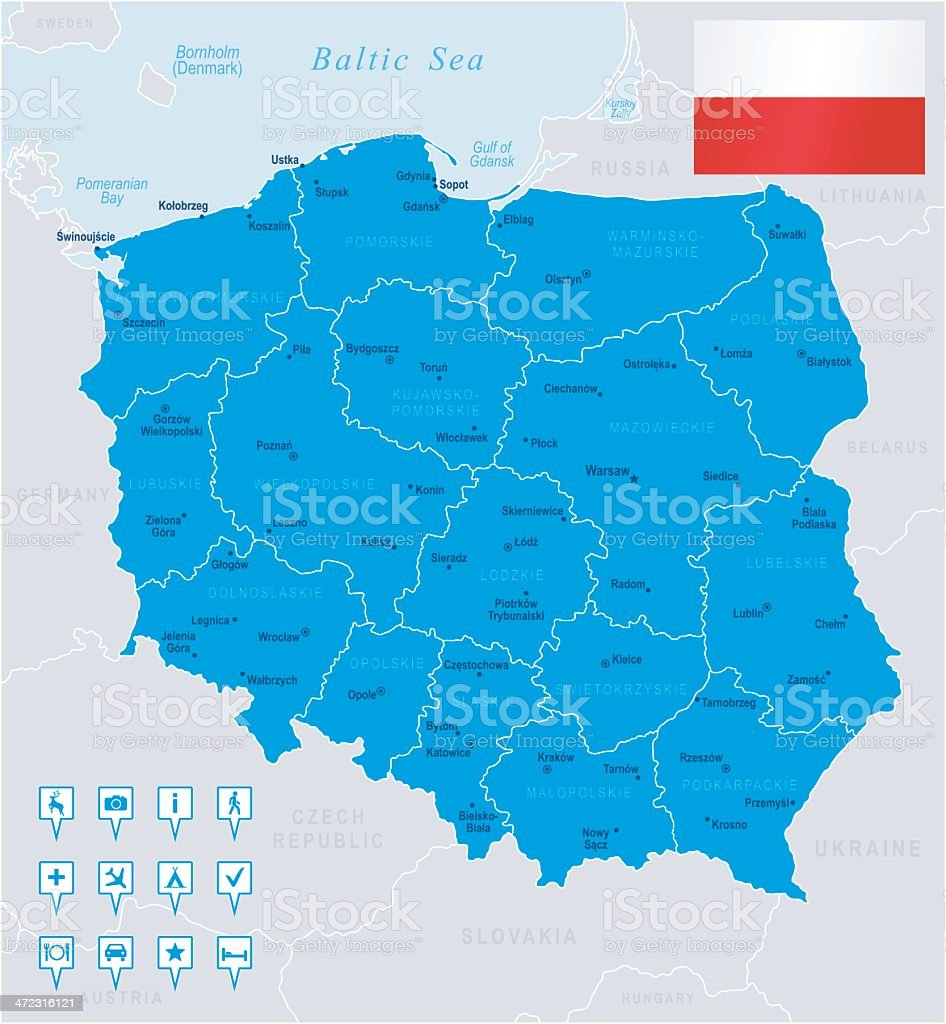 Map of Poland - states, cities, flag, navigation icons vector art illustration