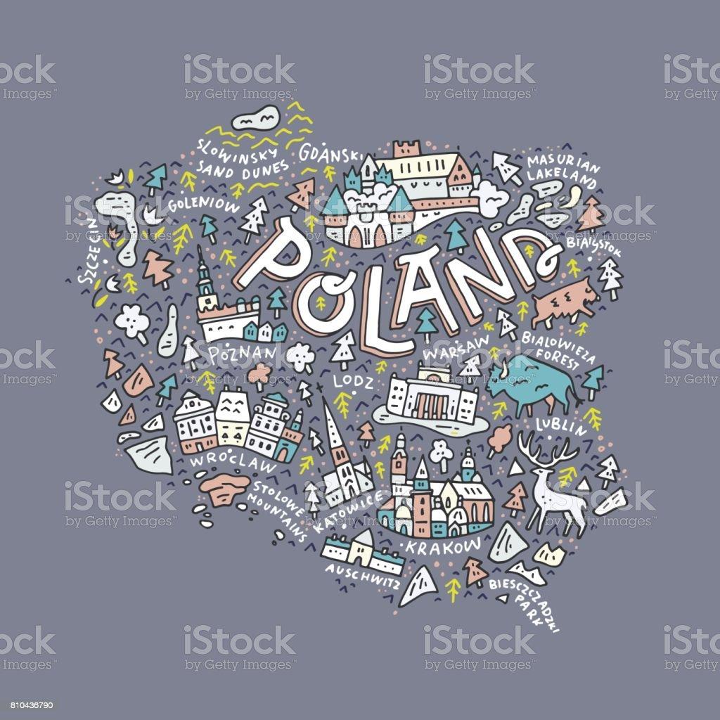 Map of Poland vector art illustration