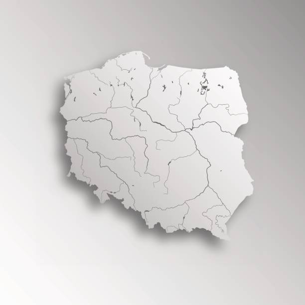 Map of Poland. Very detailed map of Poland with paper cut effect. Rivers are shown. polish culture stock illustrations