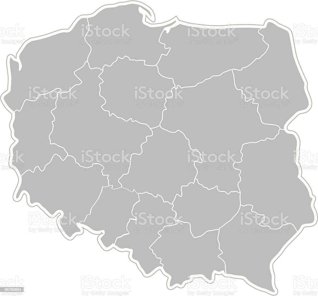 Map of Poland royalty-free stock vector art