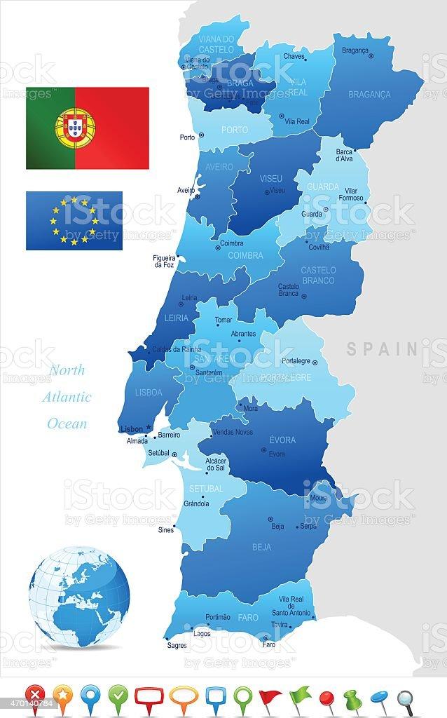 Mapa de Portugal - ilustração de arte vetorial