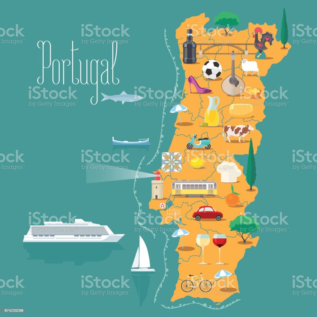 Map of Portugal vector illustration, design vector art illustration