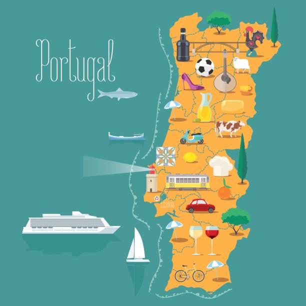 ilustrações de stock, clip art, desenhos animados e ícones de map of portugal vector illustration, design - portugal map
