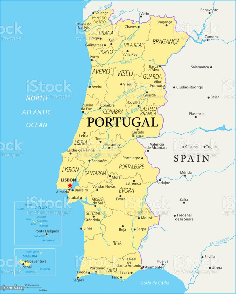 Map Of Portugal Vector Stock Vector Art & More Images of Atlantic ...