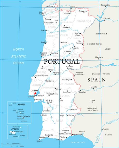 ilustrações de stock, clip art, desenhos animados e ícones de map of portugal - vector - aveiro