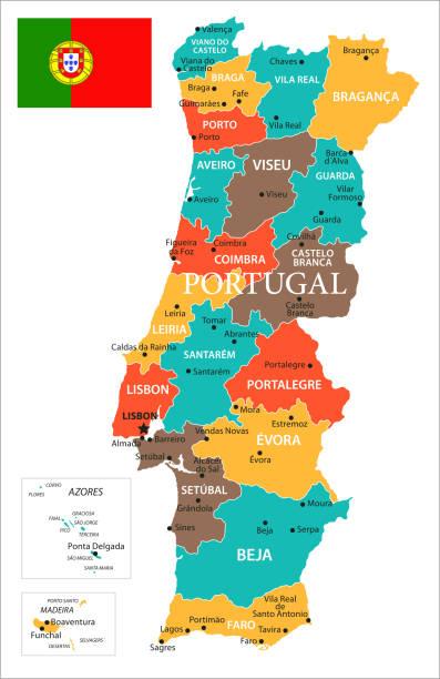 ilustrações de stock, clip art, desenhos animados e ícones de map of portugal - vector - funchal madeira