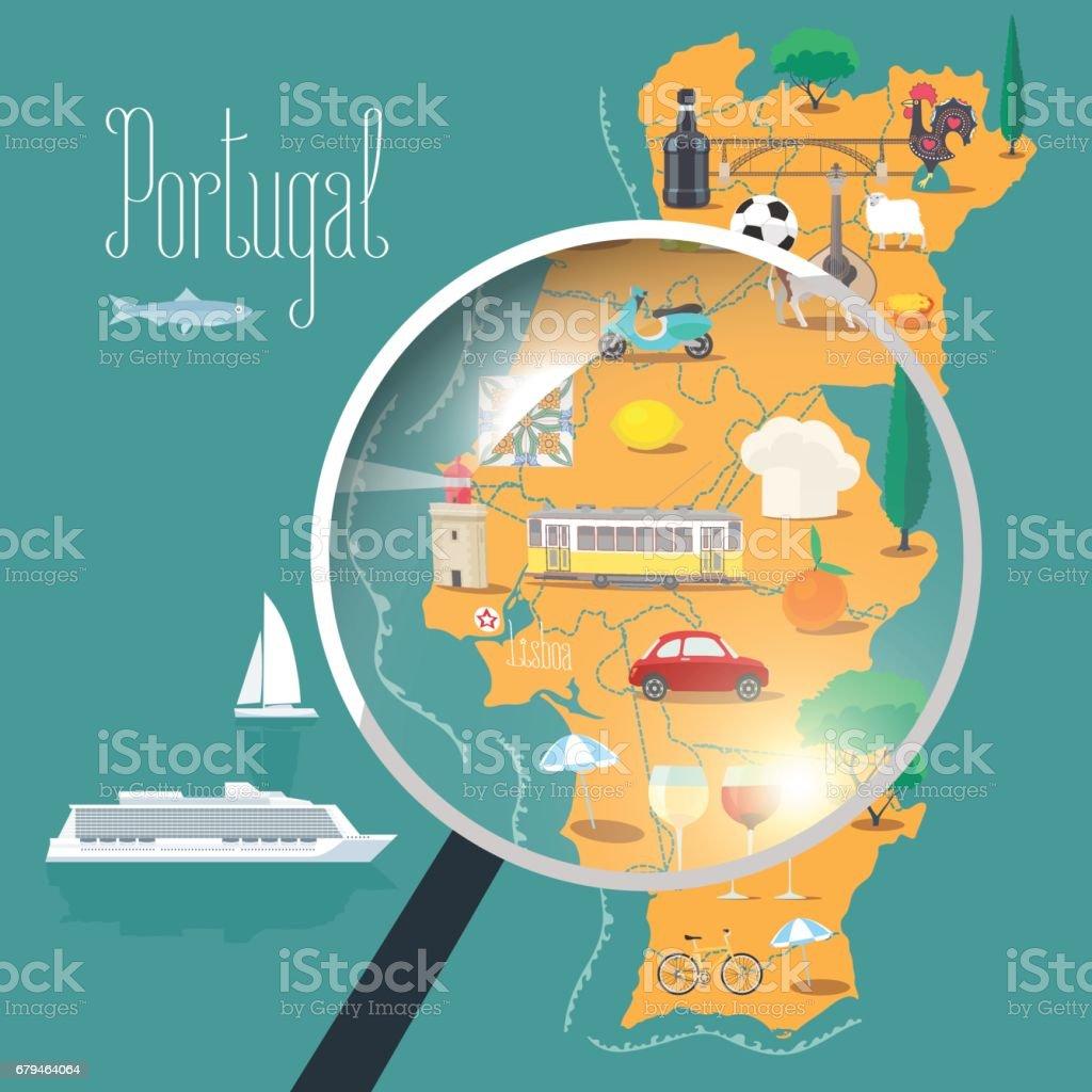Karta Europa Portugal.Karta Over Portugal Med Lupp Vektorillustration Design Vektorgrafik