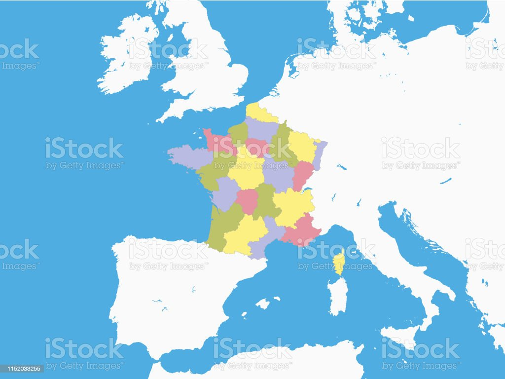 Map Of Provinces In France.Map Of Provinces Of France With Surrounding Terrain Stock