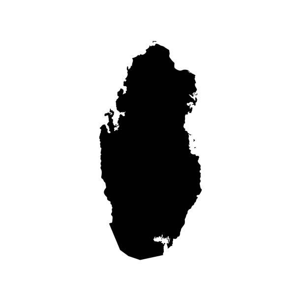 ilustraciones, imágenes clip art, dibujos animados e iconos de stock de mapa de qatar. silueta de vector negro - qatar