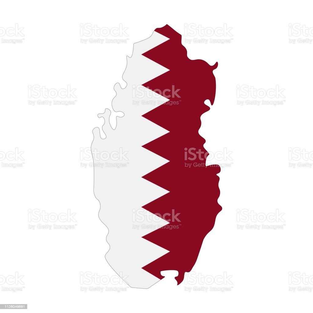Map Of Qatar With Flag Inside Qatar Map Vector Illustration Stock ...