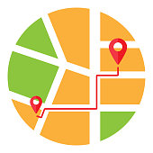 Map of red path in city, address, place of delivery, location. Direction of travel. Search for traffic over internet, phone. Vector illustration.