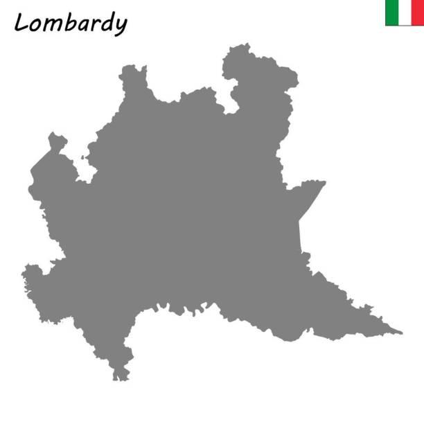 illustrazioni stock, clip art, cartoni animati e icone di tendenza di map of  region of italy - lombardia