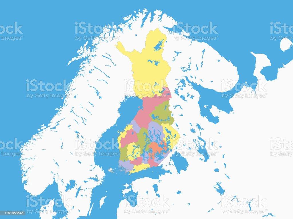 Finnland Karte Regionen.Karte Der Regionen Finnlands Mit Umzugenem Gelande Stock