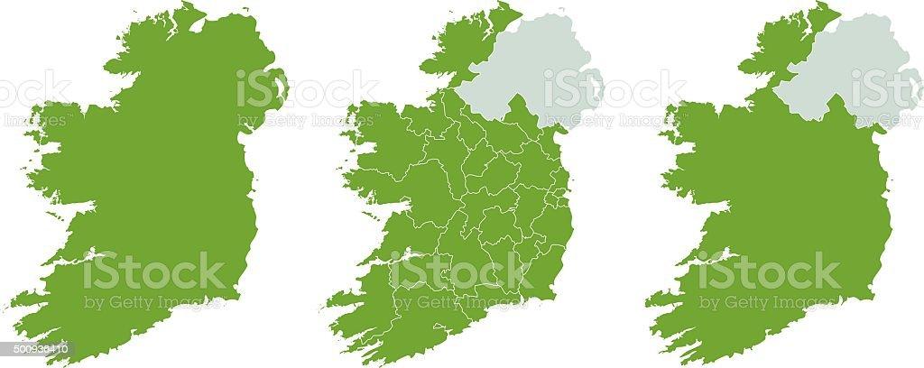 Map of Republic of Ireland vector art illustration