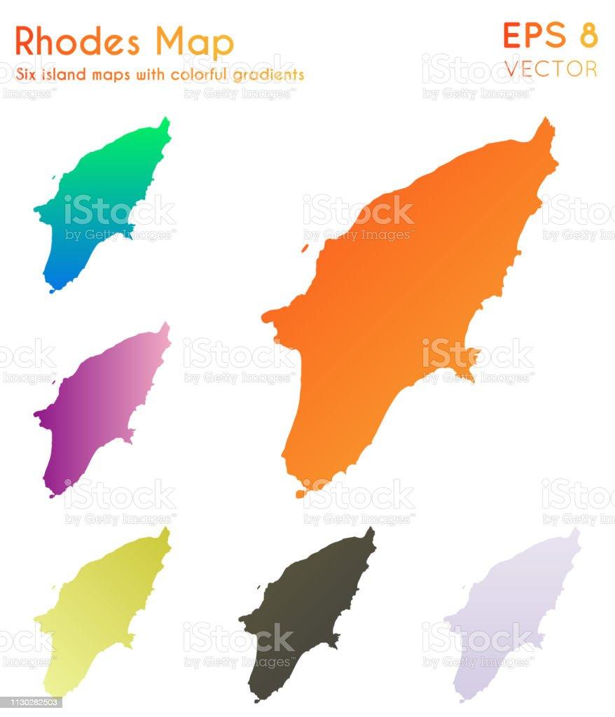 Rhodos Karte.Karte Von Rhodos Mit Schönen Farbverläufen Stock Vektor Art Und Mehr