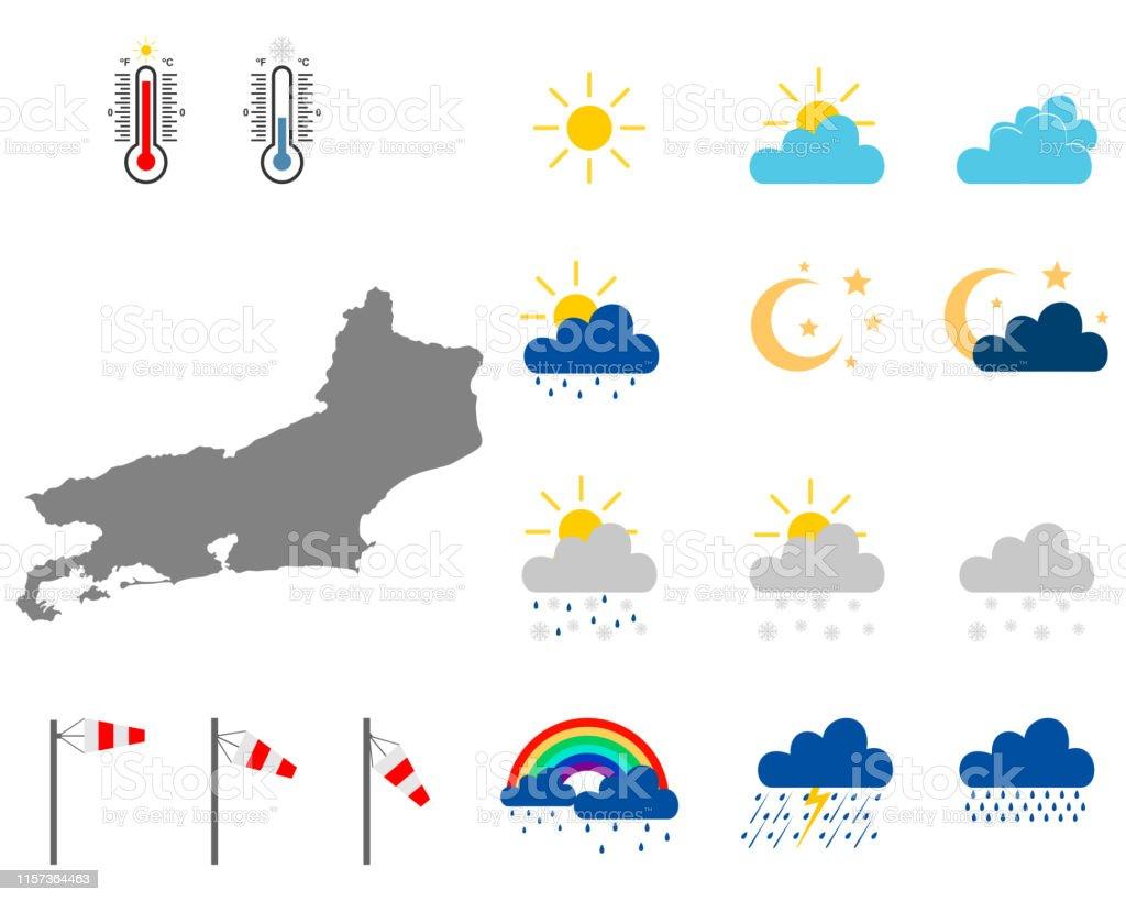 Rio De Janeiro Karte.Karte Von Rio De Janeiro Mit Wettersymbolen Stock Vektor Art