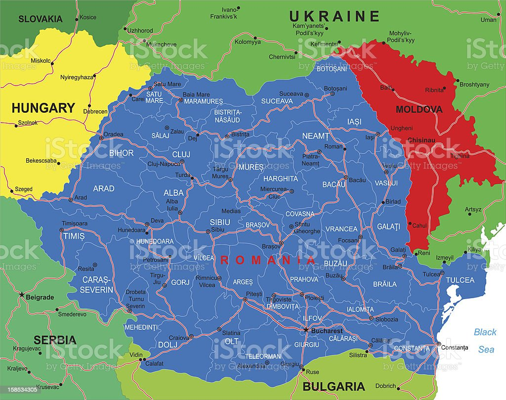 A map of Romania including all cities and states royalty-free a map of romania including all cities and states stock vector art & more images of backgrounds