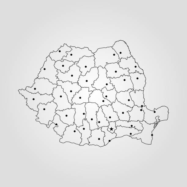 Map of Romania Map of Romania. Vector illustration. World map romania stock illustrations