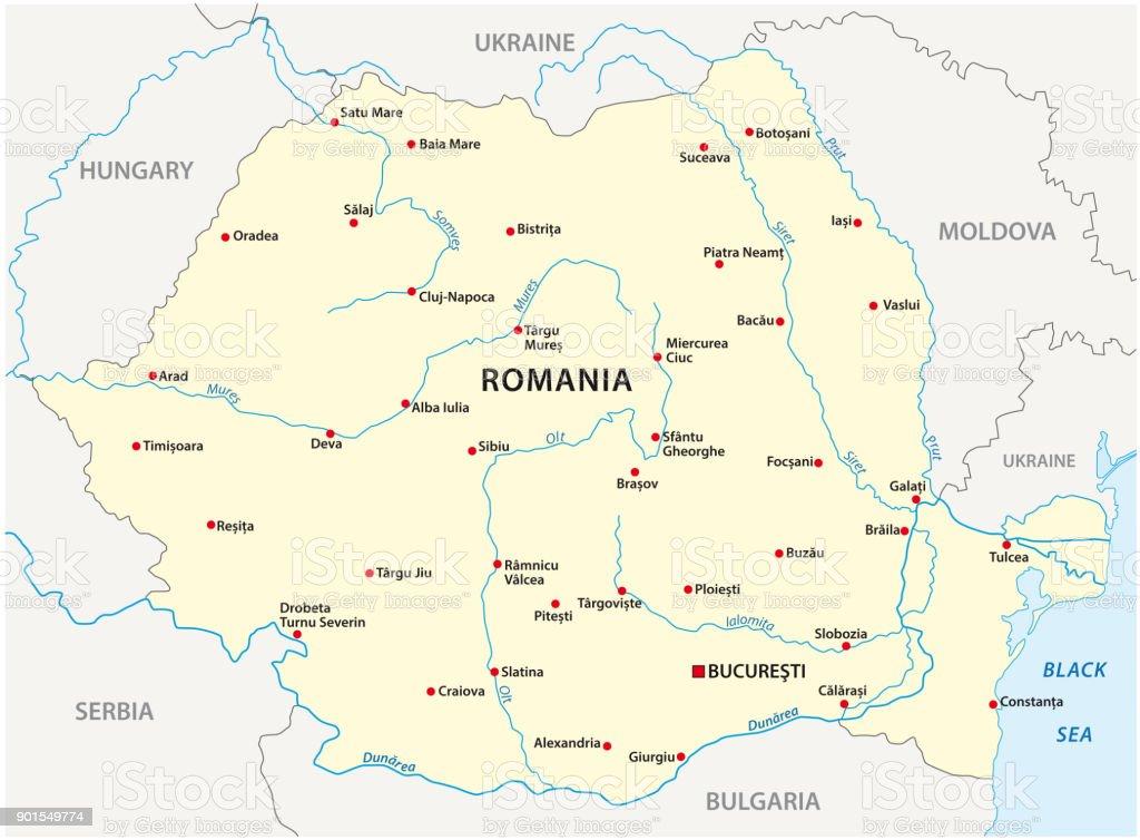 Carte Roumanie Villes.Carte De La Roumanie Avec Les Principales Villes Vecteurs