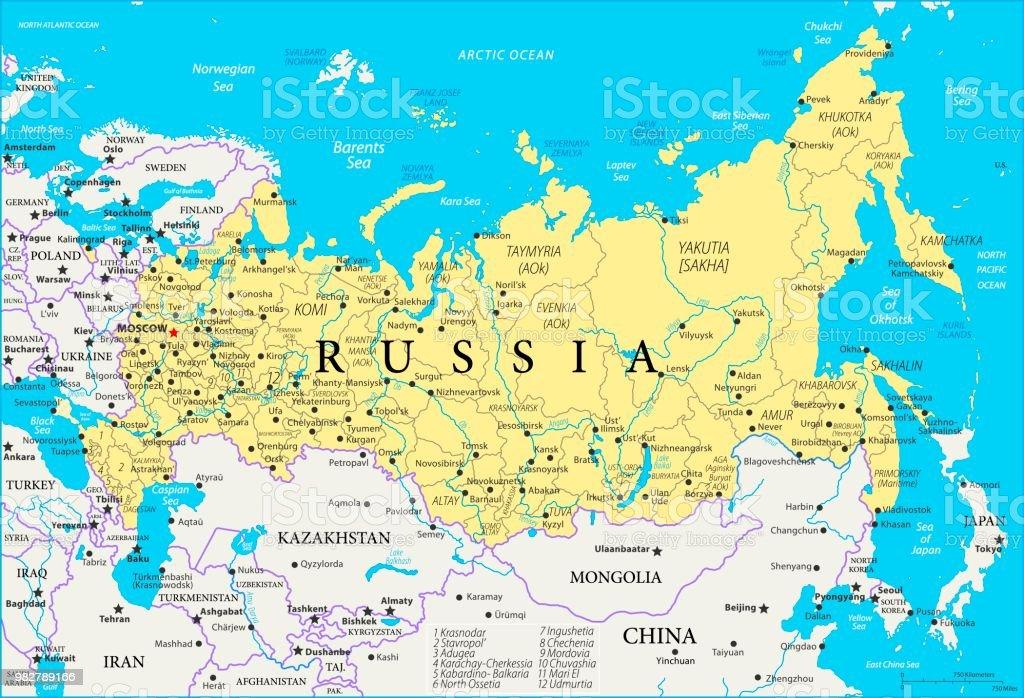 Karte Russland.Landkarte Von Russland Vektor Stock Vektor Art Und Mehr
