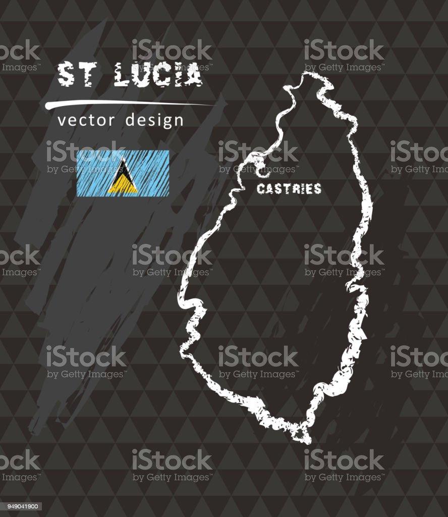 Map of Saint Lucia, Chalk sketch vector illustration vector art illustration