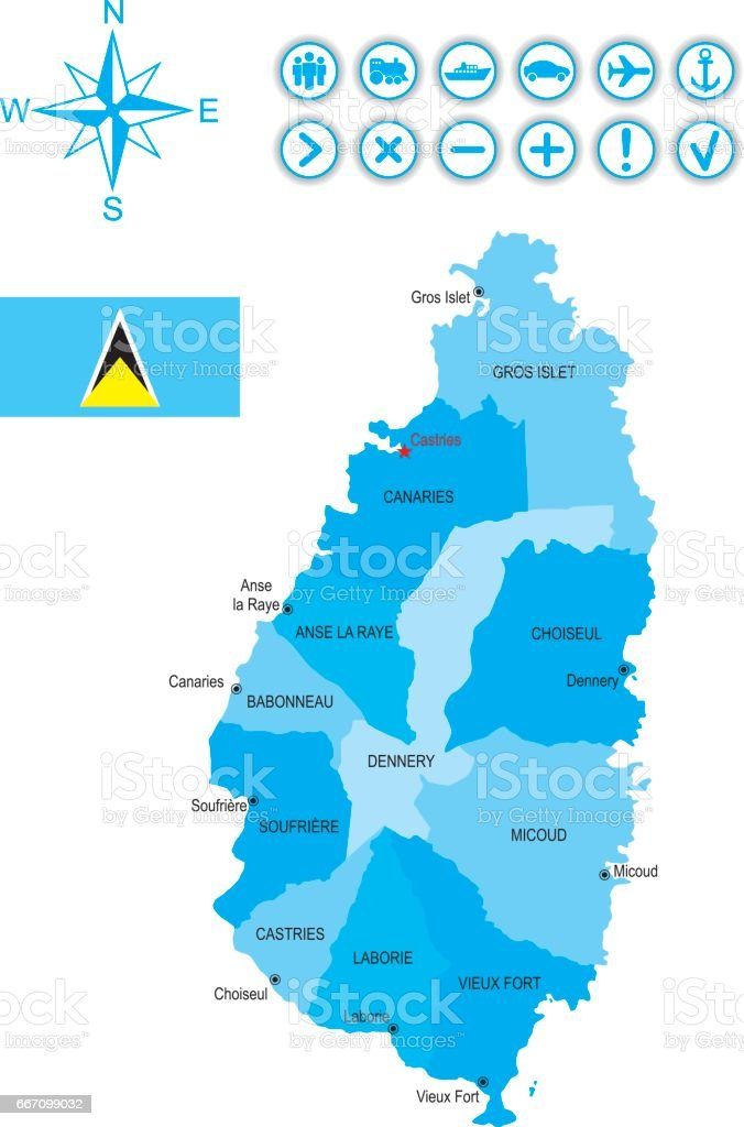 Map of Saint Lucia with flag, icons and key vector art illustration