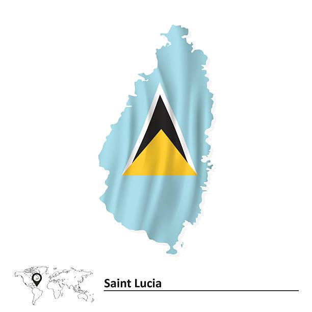 bildbanksillustrationer, clip art samt tecknat material och ikoner med map of saint lucia with flag - lucia