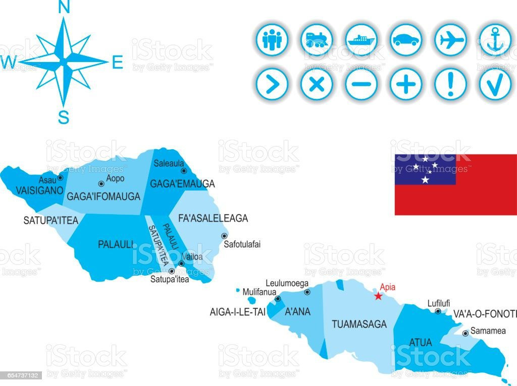 Map Of Samoa With Flag Icons And Key Stock Vector Art - Samoa map vector